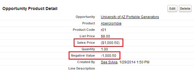 negative value formula