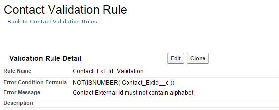 Contact Validation RUle