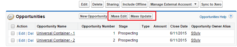 Mass edit in list view