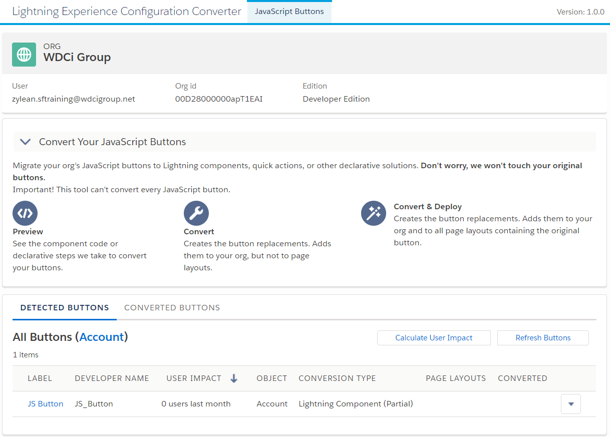 Salesforce: Lightning Experience Button Converter - WDCi Group