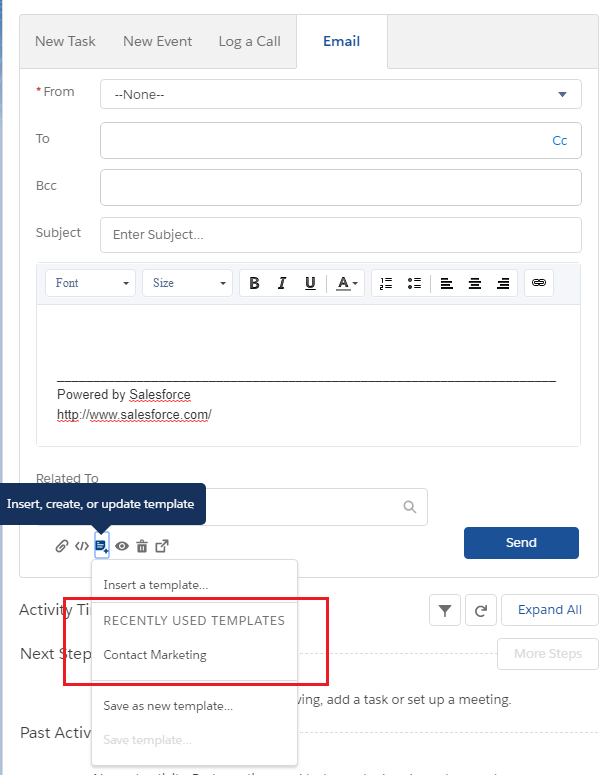 Tip Of The Week Recently Used Template In Salesforce Lightning